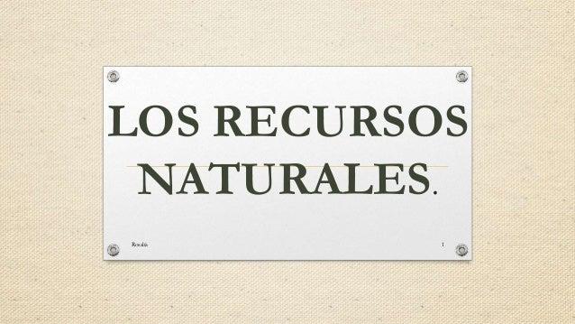 LOS RECURSOS  NATURALES.  Rosalía 1