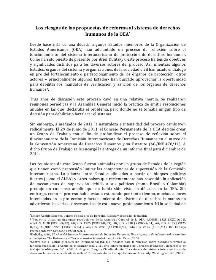 Los riesgos de las propuestas de reforma al sistema de derechos                          humanos de la OEADesde hace más ...