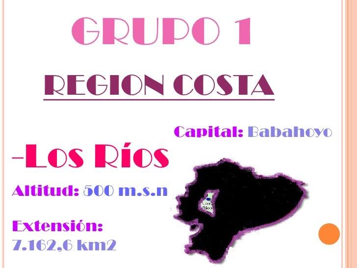 GRUPO 1   REGION COSTA                     Capital: Babahoyo-Los RíosAltitud: 500 m.s.nExtensión:7.162,6 km2