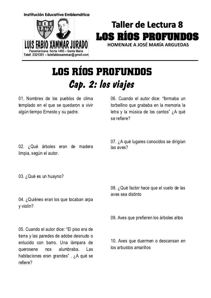 LOS RÍOS PROFUNDOS                     Cap. 2: los viajes01. Nombres de los pueblos de clima         06. Cuando el autor d...
