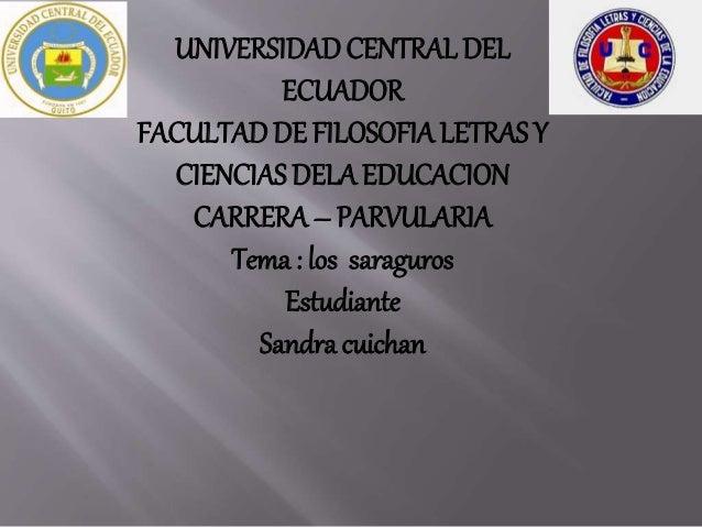 UNIVERSIDADCENTRALDEL ECUADOR FACULTADDE FILOSOFIALETRAS Y CIENCIAS DELA EDUCACION CARRERA – PARVULARIA Tema : los saragur...