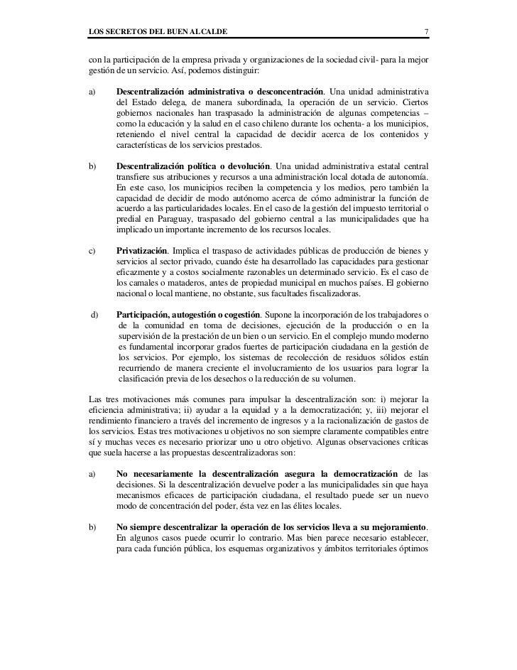 LOS SECRETOS DEL BUEN ALCALDE                                                                   7con la participación de l...