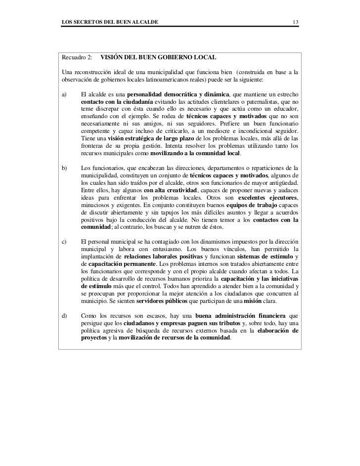 LOS SECRETOS DEL BUEN ALCALDE                                                              13Recuadro 2:   VISIÓN DEL BUEN...