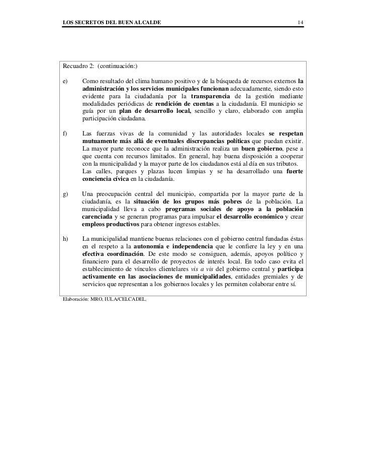 LOS SECRETOS DEL BUEN ALCALDE                                                           14Recuadro 2: (continuación:)e)   ...