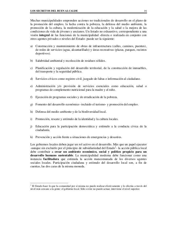 LOS SECRETOS DEL BUEN ALCALDE                                                                            16Muchas municipa...