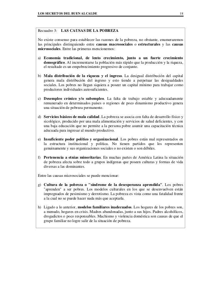 LOS SECRETOS DEL BUEN ALCALDE                                                           18Recuadro 3:   LAS CAUSAS DE LA P...