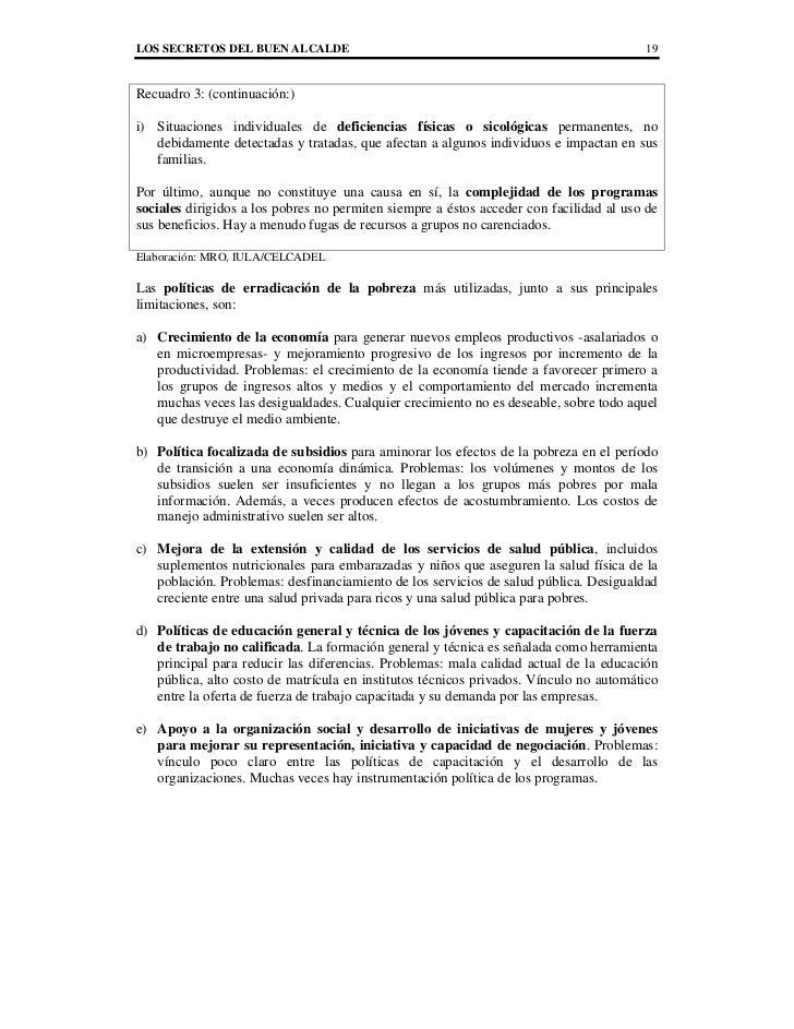 LOS SECRETOS DEL BUEN ALCALDE                                                           19Recuadro 3: (continuación:)i) Si...