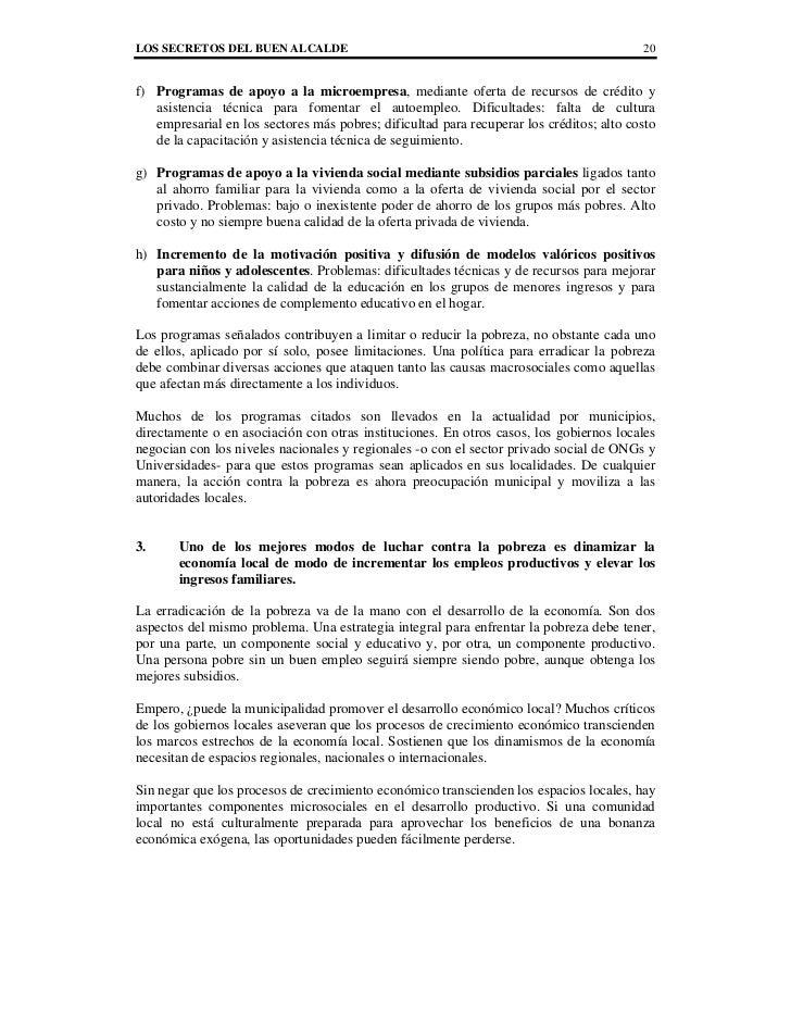 LOS SECRETOS DEL BUEN ALCALDE                                                             20f) Programas de apoyo a la mic...
