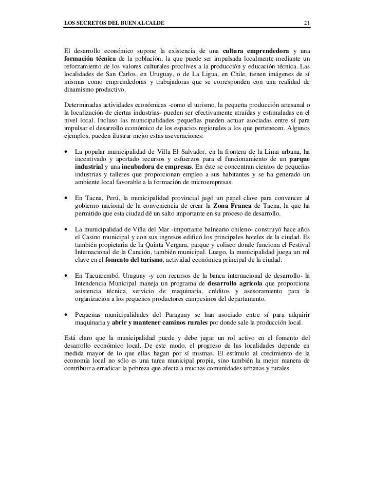 LOS SECRETOS DEL BUEN ALCALDE                                                            21El desarrollo económico supone ...