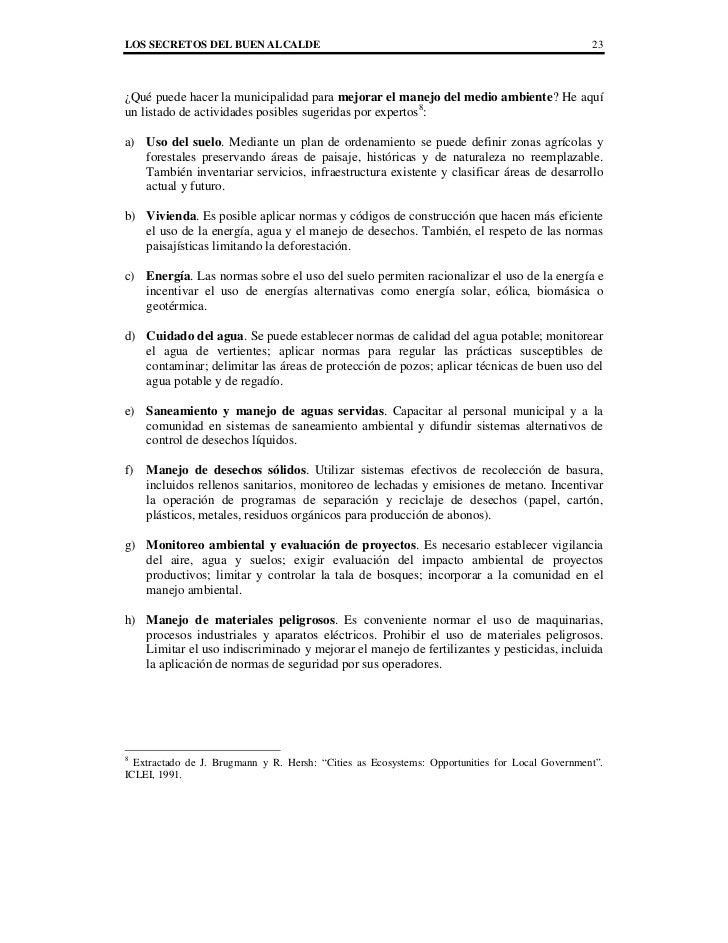 LOS SECRETOS DEL BUEN ALCALDE                                                                   23¿Qué puede hacer la muni...
