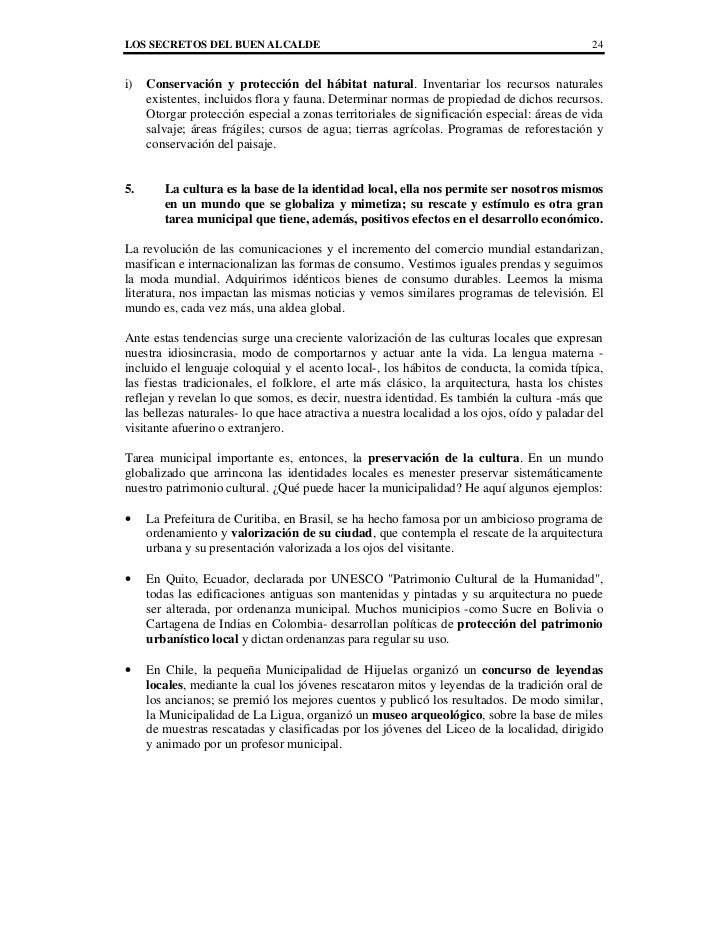 LOS SECRETOS DEL BUEN ALCALDE                                                                24i)   Conservación y protecc...