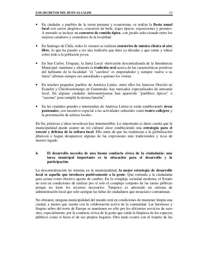 LOS SECRETOS DEL BUEN ALCALDE                                                             25•    En ciudades y pueblos de ...