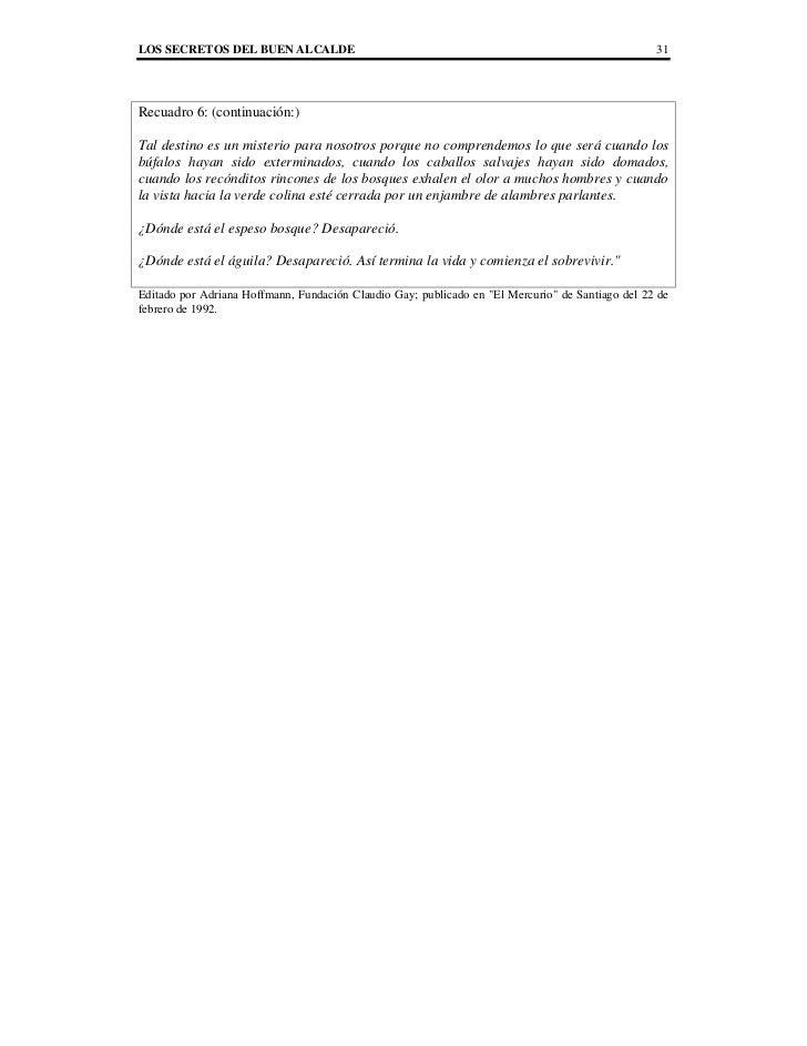 LOS SECRETOS DEL BUEN ALCALDE                                                                     31Recuadro 6: (continuac...