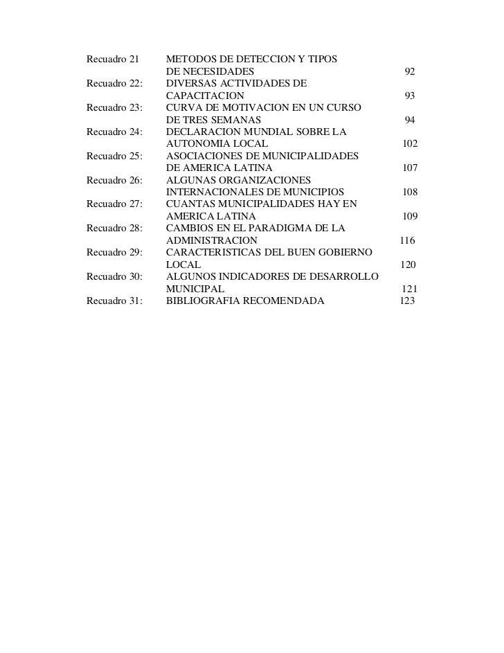 Recuadro 21    METODOS DE DETECCION Y TIPOS               DE NECESIDADES                       92Recuadro 22:   DIVERSAS A...