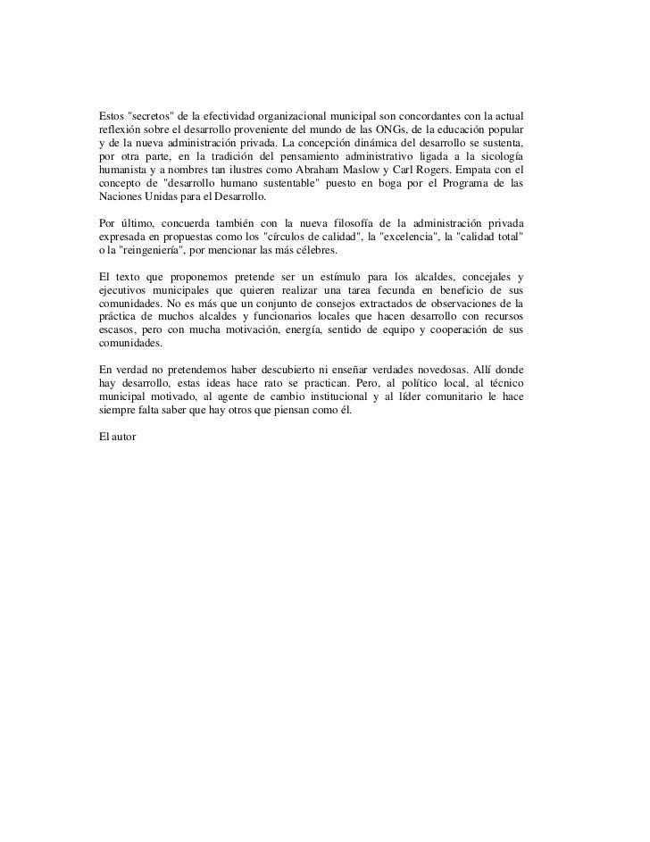 """Estos """"secretos"""" de la efectividad organizacional municipal son concordantes con la actualreflexión sobre el desarrollo pr..."""