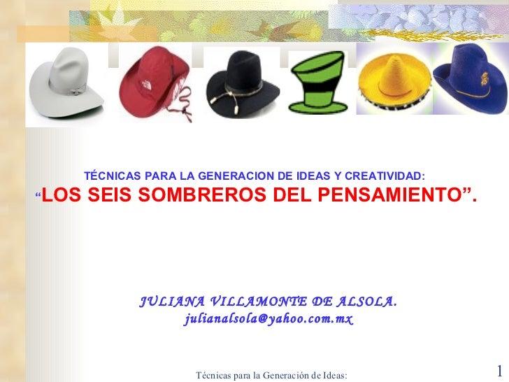 """TÉCNICAS  PARA LA GENERACION DE IDEAS Y CREATIVIDAD: """" LOS SEIS SOMBREROS DEL PENSAMIENTO"""". JULIANA VILLAMONTE DE ALSOLA. ..."""