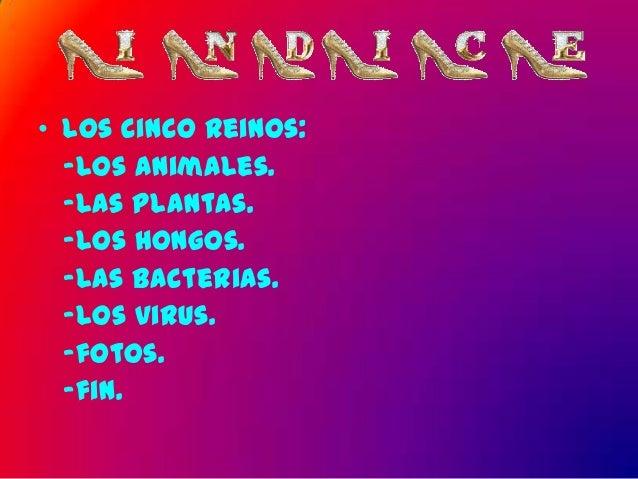 • Los cinco reinos:  -Los animales.  -Las plantas.  -Los hongos.  -Las bacterias.  -Los virus.  -fotos.  -fin.
