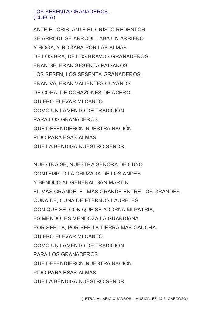 LOS SESENTA GRANADEROS(CUECA)ANTE EL CRIS, ANTE EL CRISTO REDENTORSE ARRODI, SE ARRODILLABA UN ARRIEROY ROGA, Y ROGABA POR...