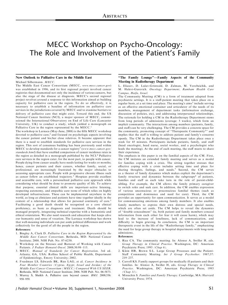 ABSTRACTS                    MECC Workshop on Psycho-Oncology:             The Role and Involvement of the Patient's Famil...