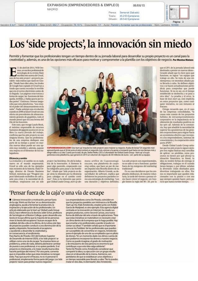 06/06/15EXPANSION (EMPRENDEDORES & EMPLEO) MADRID Prensa: Semanal (Sabado) Tirada: 45.255 Ejemplares Difusión: 29.542 Ejem...