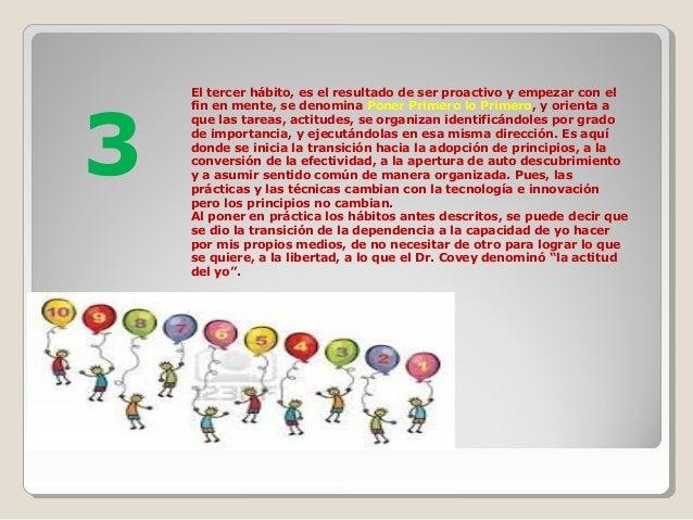 El tercer hábito, es el resultado de ser proactivo y empezar con el fin en mente, se denomina Poner Primero lo Primero, y ...