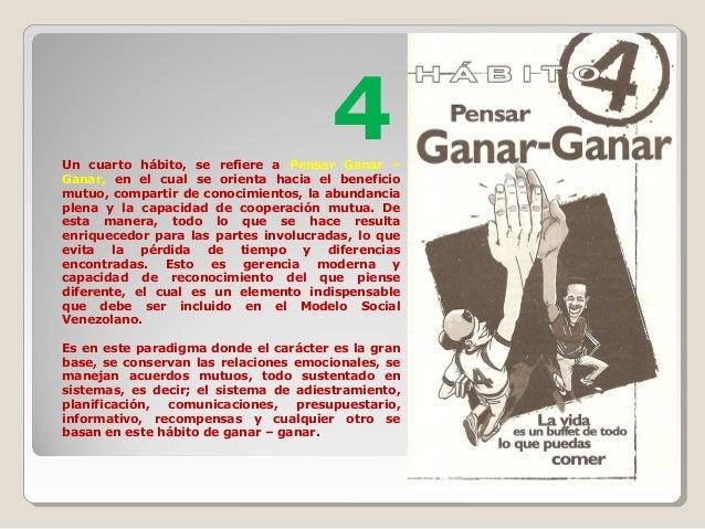4Un cuarto hábito, se refiere a Pensar Ganar – Ganar, en el cual se orienta hacia el beneficio mutuo, compartir de conocim...