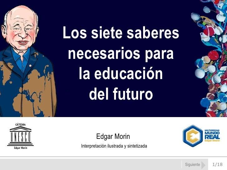 Siguiente<br />Los siete saberes<br />necesarios para<br />la educación <br />del futuro <br />Edgar Morin<br />Interpreta...
