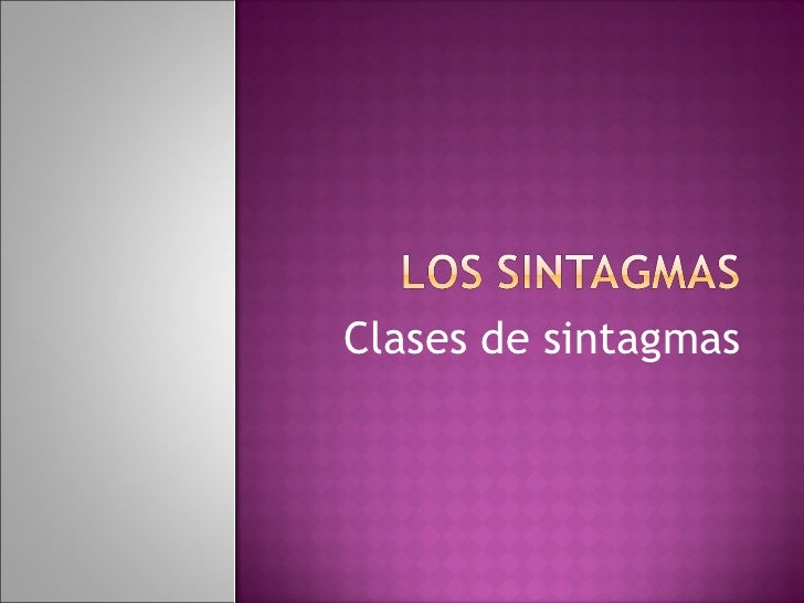 Los sintagmas