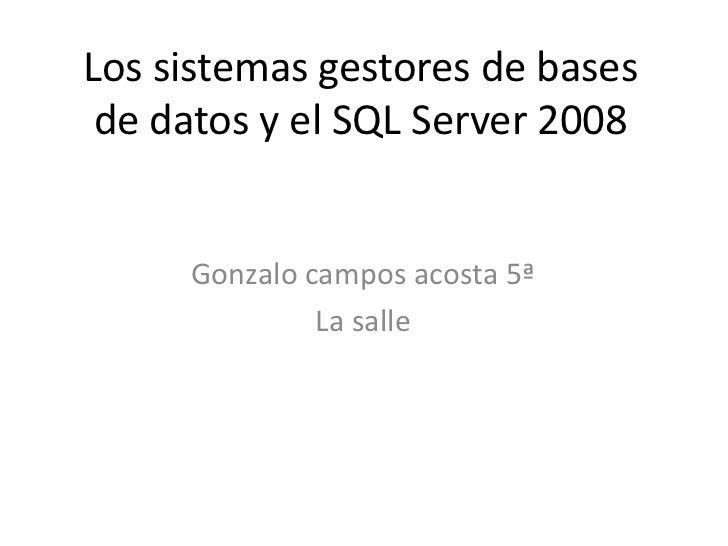 Los sistemas gestores de bases de datos y el SQL Server 2008     Gonzalo campos acosta 5ª              La salle