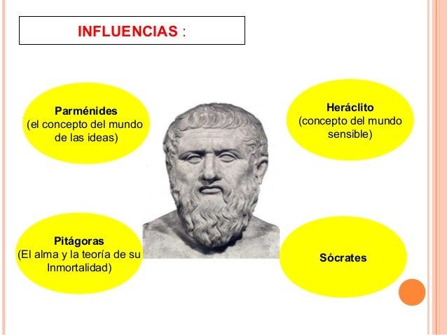 INFLUENCIAS : Parménides (el concepto del mundo de las ideas) Sócrates Pitágoras (El alma y la teoría de su Inmortalidad) ...
