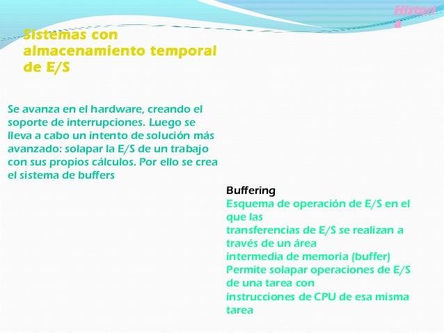 Histori a Operaciones Off-line Modo de operación de ciertos equipos de E/S que trabajan no controlados directamente por la...