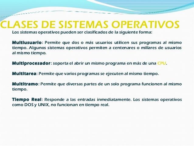 Tipos de S. O. Sistema operativos por servicios