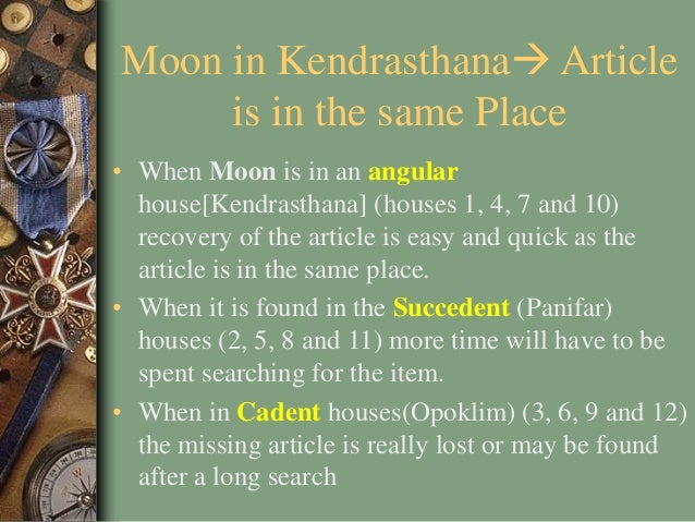 Moon in Kendrasthana Article is in the same Place • When Moon is in an angular house[Kendrasthana] (houses 1, 4, 7 and 10...