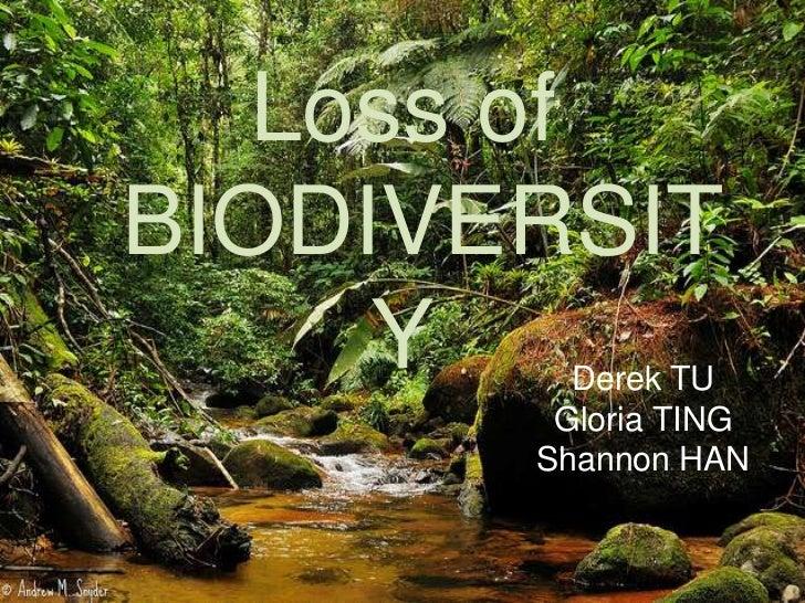 Loss ofBIODIVERSIT     Y   Derek TU        Gloria TING       Shannon HAN