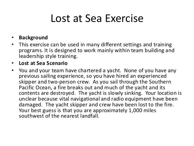Lost at Sea Team Building Exercise power point slides – Lost at Sea Worksheet