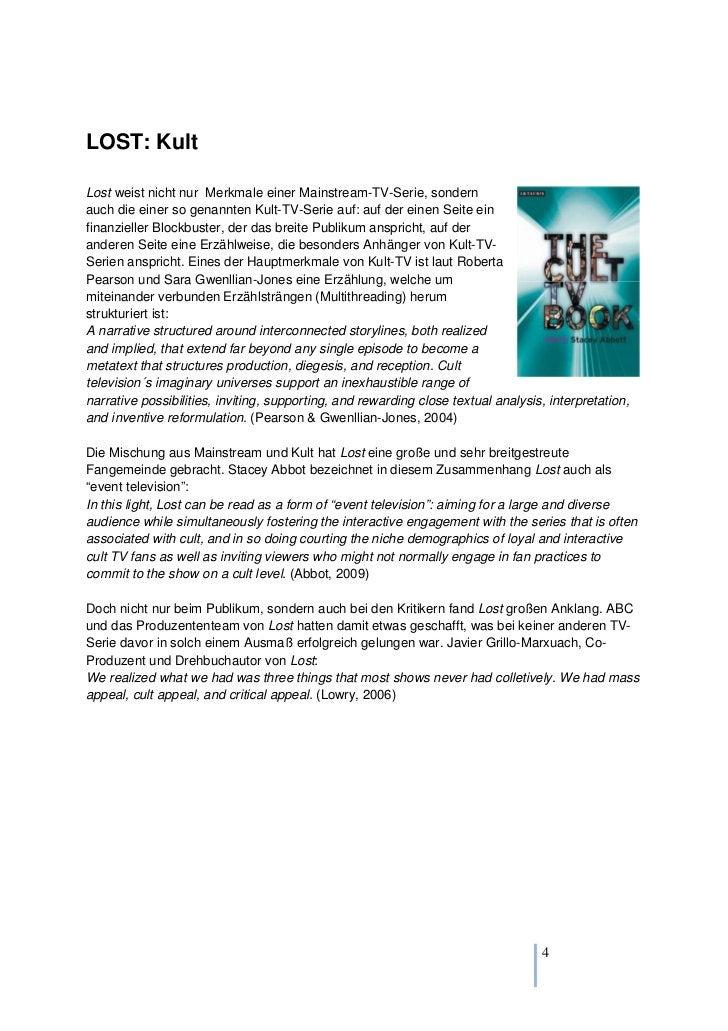LOST: KultLost weist nicht nur Merkmale einer Mainstream-TV-Serie, sondernauch die einer so genannten Kult-TV-Serie auf: a...