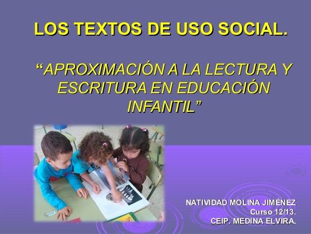 """LOS TEXTOS DE USO SOCIAL. """"APROXIMACIÓN A LA LECTURA Y ESCRITURA EN EDUCACIÓN INFANTIL""""  NATIVIDAD MOLINA JIMÉNEZ Curso 12..."""