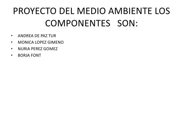 PROYECTO DEL MEDIO AMBIENTE LOS COMPONENTES   SON:<br />ANDREA DE PAZ TUR <br />MONICA LOPEZ GIMENO <br />NURIA PEREZ GOME...