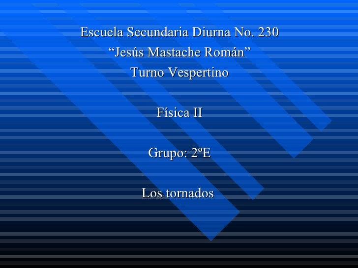 "Escuela Secundaria Diurna No. 230    ""Jesús Mastache Román""        Turno Vespertino            Física II           Grupo: ..."