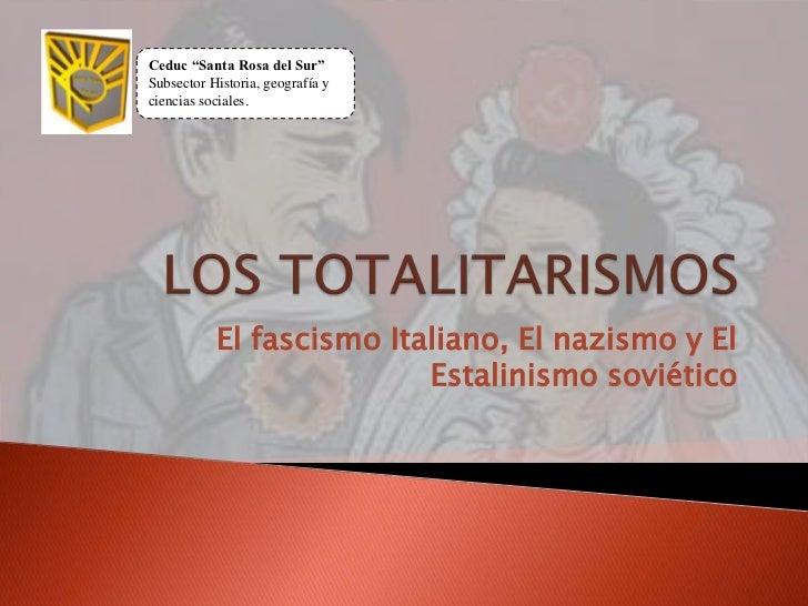 """Ceduc """"Santa Rosa del Sur""""Subsector Historia, geografía yciencias sociales.           El fascismo Italiano, El nazismo y E..."""