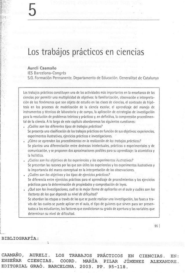 ¡ I i I ! i ¡ L_.. BIBLIOGRAFÍA: 5 Lostrabajosprácticosenciencias Aureli Caamaño lESBarcelona-Congrés S.G.Formación Perman...