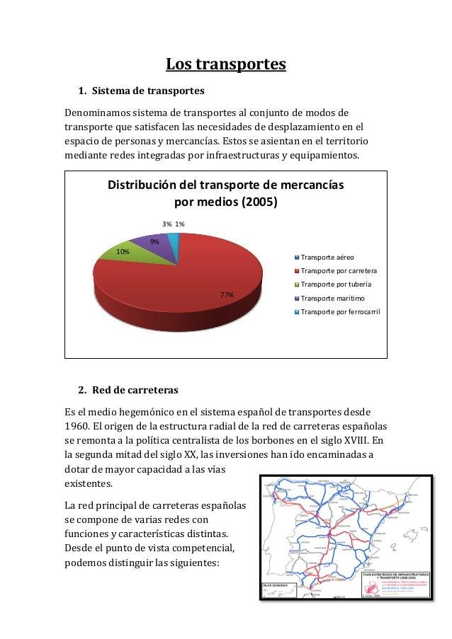 Los transportes 1. Sistema de transportes Denominamos sistema de transportes al conjunto de modos de transporte que satisf...