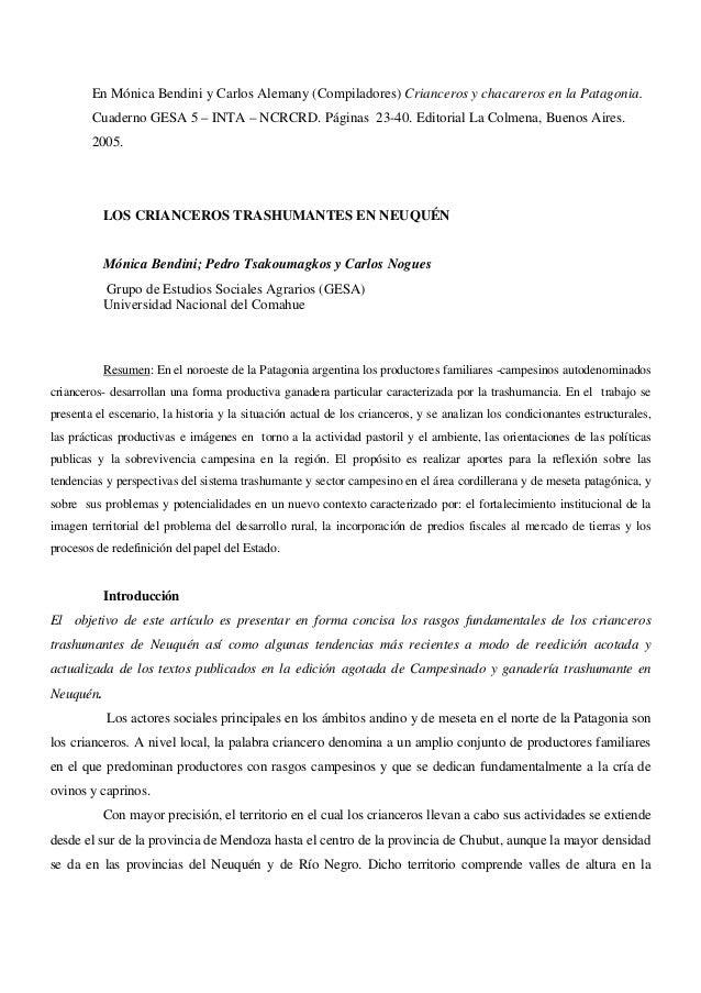 En Mónica Bendini y Carlos Alemany (Compiladores) Crianceros y chacareros en la Patagonia. Cuaderno GESA 5 – INTA – NCRCRD...