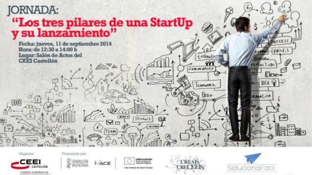"""JORNADA:  """"Los tres pilares de una StartUp  y su lanzamiento""""  Fecha: jueves, 11 de septiembre 2014  Hora: de 12:30 a 14:0..."""