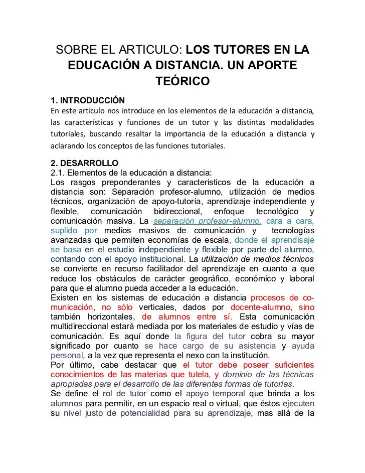 SOBRE EL ARTICULO: LOS TUTORES EN LA  EDUCACIÓN A DISTANCIA. UN APORTE               TEÓRICO1. INTRODUCCIÓNEn este articul...