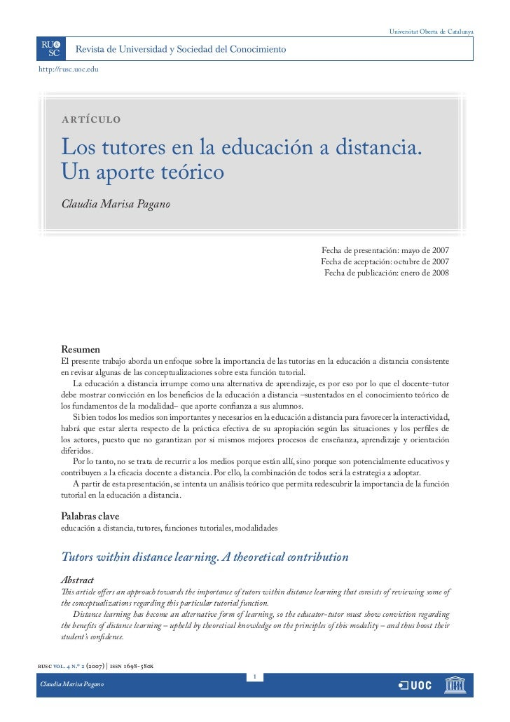 Universitat Oberta de Catalunyahttp://rusc.uoc.edu        artículo        Los tutores en la educación a distancia.        ...