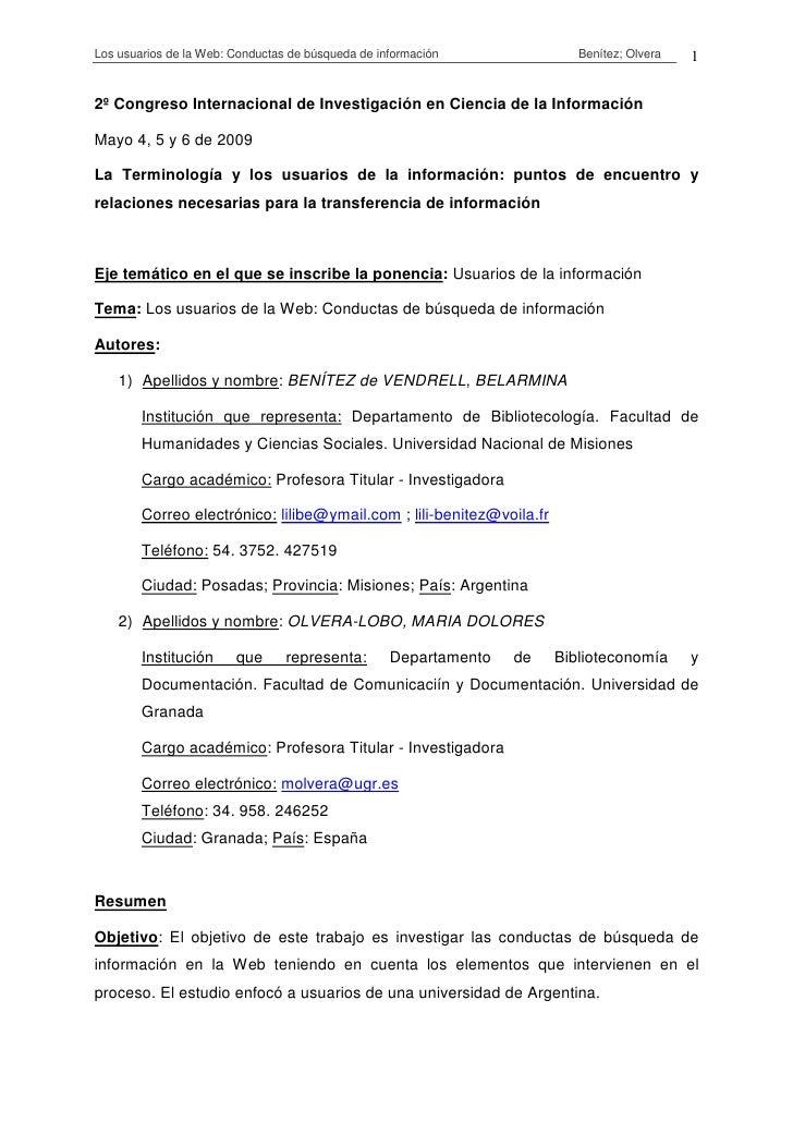 Los usuarios de la Web: Conductas de búsqueda de información              Benítez; Olvera   12º Congreso Internacional de ...