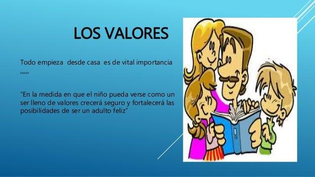"""LOS VALORES  Todo empieza desde casa es de vital importancia  ,,,,,,  """"En la medida en que el niño pueda verse como un  se..."""