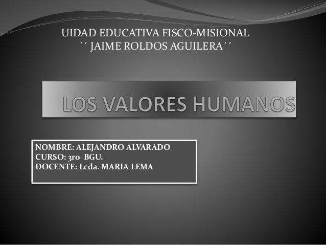 UIDAD EDUCATIVA FISCO-MISIONAL ´´ JAIME ROLDOS AGUILERA´´ NOMBRE: ALEJANDRO ALVARADO CURSO: 3ro BGU. DOCENTE: Lcda. MARIA ...