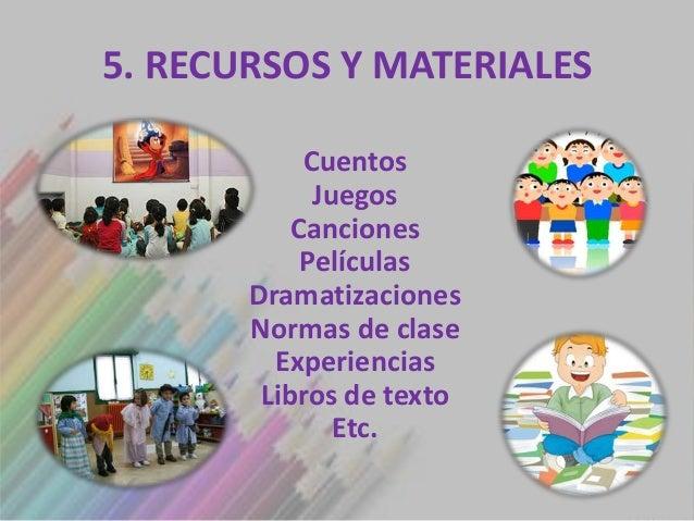 5. RECURSOS Y MATERIALES            Cuentos             Juegos           Canciones            Películas       Dramatizacio...